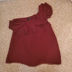 Wine Colored One Shoulder Top Size M